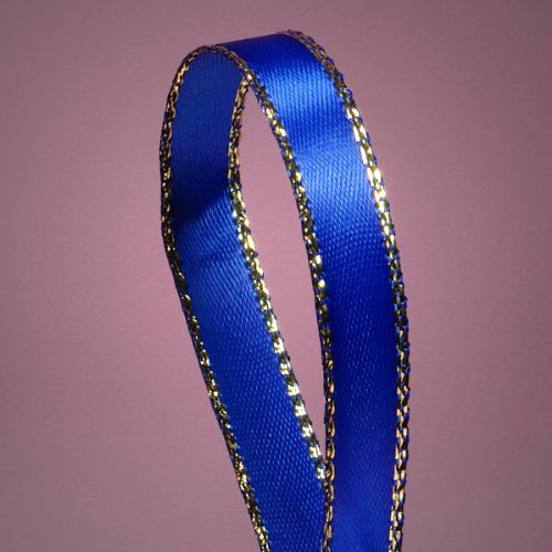 "Royal Blue Satin Ribbon with Gold Edges, 3/8"" X 50Yd"