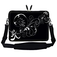 17 Inch White Swirl Design Laptop Sleeve Bag Carrying Case With Hidden Handle & Adjustable Shoulder Strap For...