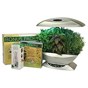 AeroGarden 2490-21S 2490-21S Classic 7-Pod Indoor Gardening System with Herb 'n Serve Dressing Mixer and Herb Chef Seed Kit, Silver