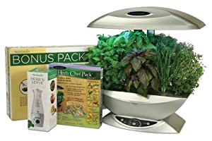 AeroGarden 2490-21S 2490-21S Classic 7-Pod Indoor Gardening System with Herb 'n Serve Dressing Mixer and Herb Chef Seed Kit, Silver (Discontinued by Manufacturer)