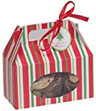 Creative Converting Cookie Box with Carry Handle, Red and Green Stripes, 4 Boxes Per Package