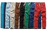 リラックス サルエルパンツ メンズ 大きい リネン ブラウン ブラック スカイブルー レッド ベージュ ネイビー コバルトブルー ライトブルー (ブラック, XL)