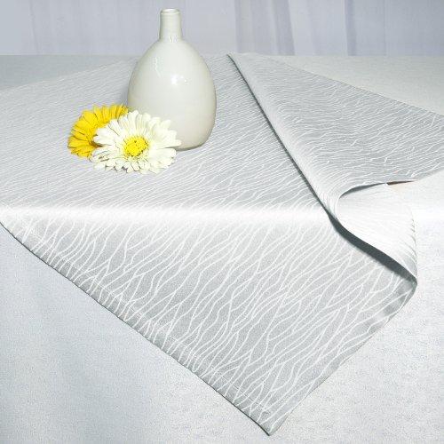 """Damast - Marken - Tischdecke """" WHITE MELODY """" - Rein Weiß - in wundervollem dezenten Wellendesign - Größe 80 x 80 - Schwere Qualität - Halbzwirn 240 g / m² - DAMAST - mit Baumwolle - DIE perfekte Tischdecke für jeden festlichen Anlass - auch in vielen weiteren Größen und Farben erhältlich"""