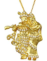 Exxotic Jewelz Designer Sterling Silver Religious Radha Krishna Pendant Necklace For Men & Women