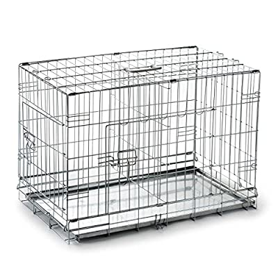 SmithBuilt Folding Silver Dog Crate w/ Metal Tray Pan - Double Door - Multiple Sizes Available