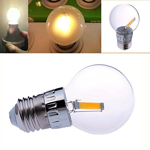 Keyzone E27 1.6W Cob Led Filament Transparent Bulb Globe Light Lamp Warm White 2800K