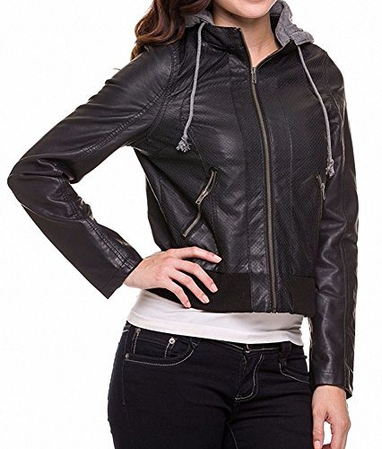 Sassy Apparel Women's PU Faux Leather Zip-up Closure ...