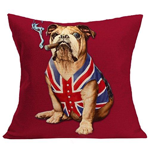 [해외]Ikevan 패션 베개 케이스 영국 국기 잘 생긴 개 빈티지 베개 케이스 소파 허리 던지기 쿠션 커버 홈 인테리어 (18 x 18)/Ikevan Fashion Pillowcase British Flag Handsome