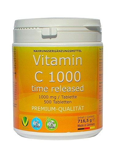vitamin c 1000mg time released 500 tabletten made in germany glutenfrei premium qualit t. Black Bedroom Furniture Sets. Home Design Ideas