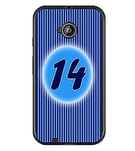 PrintDhaba Numerology Number 14 D-2570 Back Case Cover for MOTOROLA MOTO E2 (Multi-Coloured)