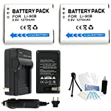 2-Pack LI-90B High-Capacity Replacement Batteries With Rapid Travel Charger For Select Olympus Digital Cameras...