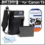 Clearance Sale on Battery And Charger Kit For Canon EOS Rebel T3 Digital SLR Camera Includes Extended (1500mAh) Replacement LP-E10 Battery + Ac/ Dc Rapid Travel Charger + LCD Screeen Protectors + ButterflyPhoto MicroFiber Cleaning Cloth