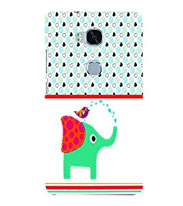 PrintVisa Animal Elephant Cute Cartoon 3D Hard Polycarbonate Designer Back Case Cover for Huawei Honor 5X
