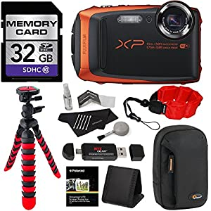 Fujifilm FinePix XP90 Waterproof digital camera (Orange), 32GB Class 10, Memory Card Reader, 12