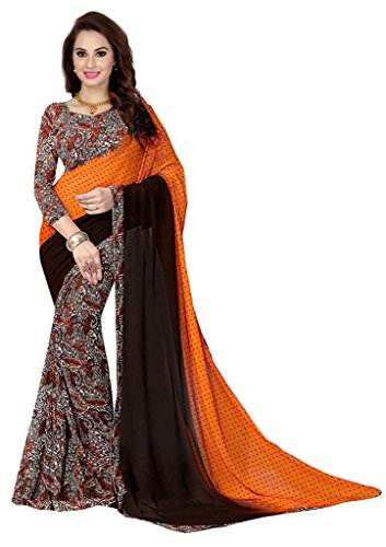 Ishin Faux Georgette Orange & Black Bollywood Printed Women's Saree.  available at amazon for Rs.299