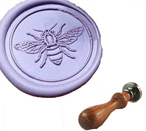 MDLG, motivo: api su fiori Vintage, con monogramma personalizzata con foto di matrimonio, invito, con sigillo di cera con manico di palissandro