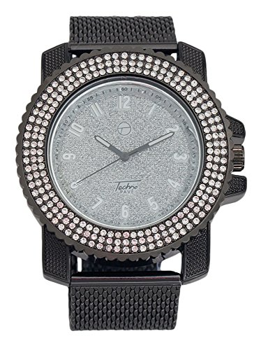 Techno Pave - Black Fully Iced Out Dial and Bezel Watch with Mesh Band (Fully Iced Out compare prices)