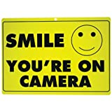 New SMILE YOURE ON CAMERA Yellow Business Security Sign CCTV Video Surveillance - ONE SIGN