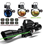 C4-12X50 AR15 Rifle Scope Dual Illuminated Reticle W/ GREEN(RED) Laser Sight and 4 Tactical Holographic Dot Reflex Sight (Green Laser)