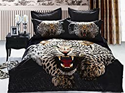 Newdeve Cotton 3d Leopard Animal Boys Duvet Cover Sets 4pc Family Bed Sheets (King)