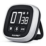 Digital Kitchen Timer, RISEPRO Touchscreen Kitchen Cooking Timer with Loud Alarm Count Down and Up Stopwatch Medicine Reminder Bread Candy BBQ EN7001-BK