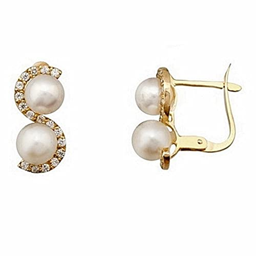 18k gold earrings 5mm cultured pearls. tuyyo wave [7143]