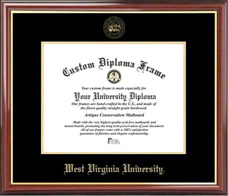 West Virginia University Mountaineers - Embossed Seal - Mahogany Gold Trim - Diploma Frame