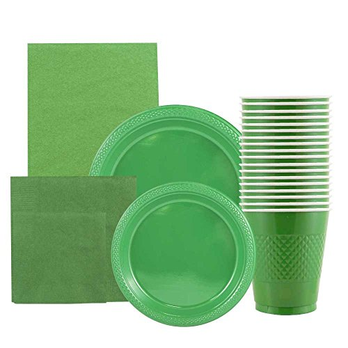 JAM Paper Party Supply Assortment Pack - Green - Plates (2 Sizes), Napkins (2 Sizes), Cups (1 pack) & Tablecloth (1 pack) - 6/pack