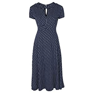 Lindy Bop Womens 'Juliet' Classy Polka Dot Vintage Ww2 Landgirl Pinup Tea Dress (L, Blue)