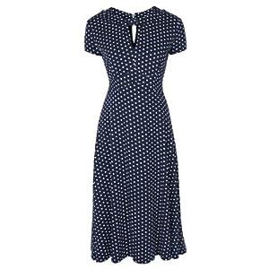 Lindy Bop Womens 'Juliet' Classy Polka Dot Vintage Ww2 Landgirl Pinup Tea Dress (L, Blue)