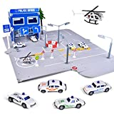 FunLittleToys Traffic Police Station Toy with 4 Pull Back Die Cast Police Cars and Traffic Signs for 2 3 4 5 Year Old Boys Kids