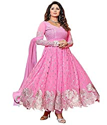Fashion Fire Women's Pink Georgette Unstitched Dress Material with Silver Zari Work