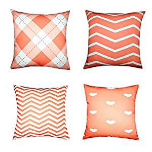 Big Red Decorative Pillows : Amazon.com - Howarmer? Square Canvas Decorative Throw Pillows Orange Decorative Pillows Set of 4 ...