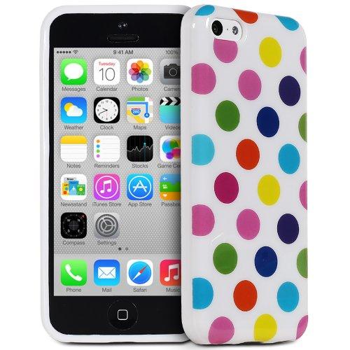 Fosmon iPhone 5C Case [DURA-POLKA] Polka Dot Flexible TPU Cover (White / Rainbow Dots)