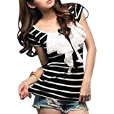 Allegra K Woman Striped Short Sleeve Ruched Scoop Neck Shirt Black White M