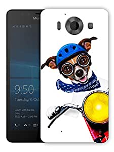 "Humor Gang Cute Dog Driving Bike Printed Designer Mobile Back Cover For ""Nokia Lumia 950"" (3D, Matte, Premium Quality Snap On Case)"