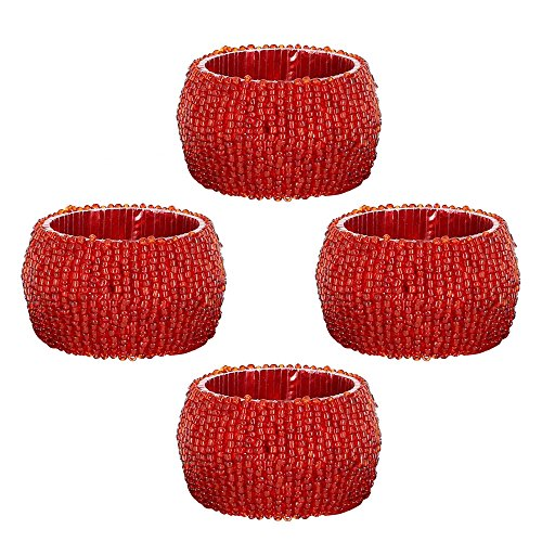 Holder Napkin Rings Set of 4 Valentine Decorations Handmade by Artisan
