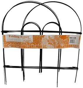 Glamos 367779 Folding Metal Wire Garden Fence, 18-Inch by 10-Foot, Pack of 12, Black