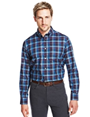 Blue Harbour Pure Cotton Triple Checked Oxford Twill Shirt