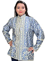 Exotic India Shadow-Blue Short Kashmiri Jacket With All-Over Ari Embroi - Silver