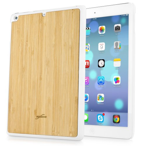 BoxWave True Bamboo Minimus iPad Air Case, Genuine Bamboo Wood Backing Shell Case Cover with Durable Plastic Edges with Smooth Matte Finish (Winter White)
