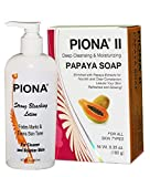 Piona Skincare Kit Includes: Piona Strong Bleaching Lotion 8 oz and Piona II Deep Cleansing & Moisturizing Papaya Soap 6.35 Oz