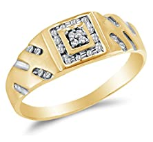 buy Size 11 - 10K Yellow Two Tone Gold Round Diamond Mens Wedding Band Ring - Channel Setting (1/8 Cttw.)