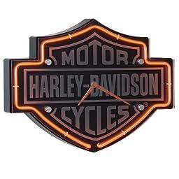Harley-Davidson® Etched Bar & Shield Shaped Neon Clock