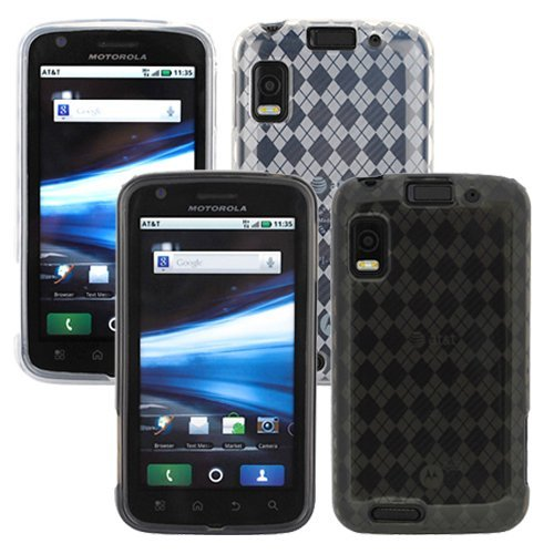 GTMax 2x Color Durable Soft TPU Gel Case For Motorola Atrix 4G MB860 Cell Phone (Smoke Checker / Clear Checker)