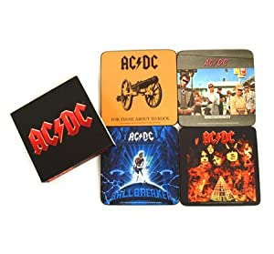 AC DC - Rock Band Untersetzer Coaster 4er Set (Best Of AC DC) verpackt im Pappschuber