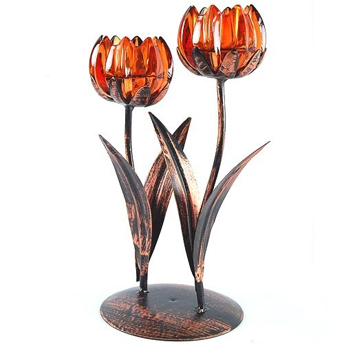 8.5 inch Double Amber Glass Tulip Flower Blossom Antique Hand Painted Bronze Centerpiece Decorative Tea Light Candle Holder