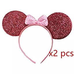 Sealive Pack of 2 Pink/ Red Glitter Minnie Mouse Ear Headband for Party and Hallowen+ 2 Sheets No Crease Ouchlese Ponytail Holders