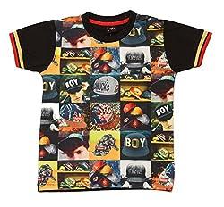Romano Boys Black Cotton T-Shirt