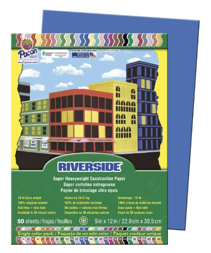 Riverside Paper Groundwood Construction Paper, 9in. x 12in., Blue - 1